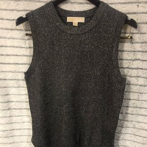 Michael Kors dark silver sparkly top size S